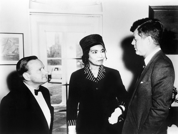 President John F. Kennedy welcomes Marian Anderson and her accompanist Franz Rupp in the Oval Office, White House, Washington, D.C., on March 22, 1962, 23 years after her Easter Sunday performance at the Lincoln Memorial. In 1961, she sang The Star-Spangled Banner at President Kennedy's inauguration.