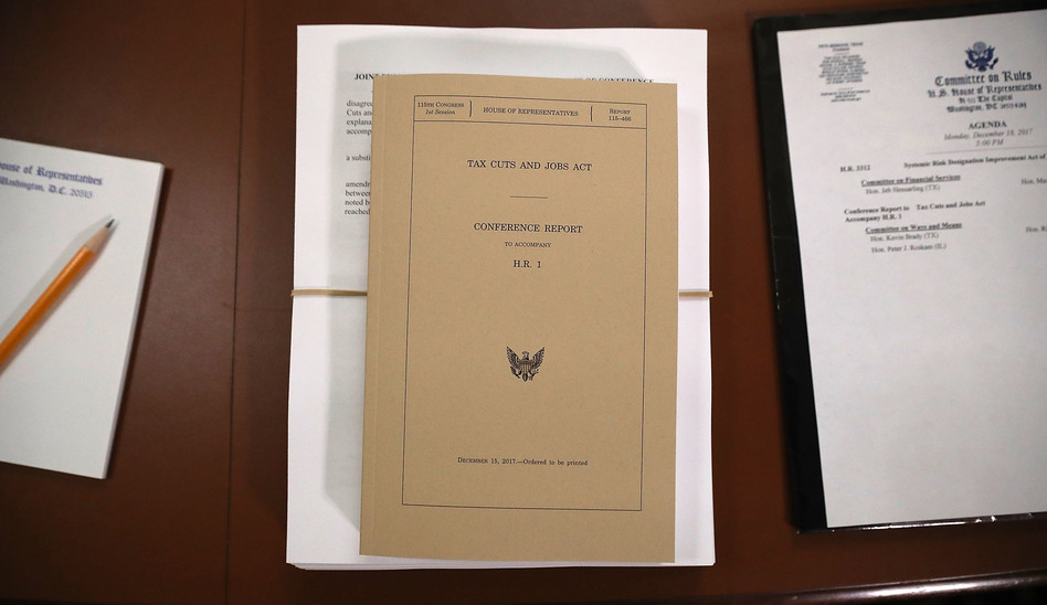 A copy of the Tax Cuts and Jobs Act conference report sits at the U.S. Capitol on Dec. 18, 2017. The legislation was passed using the budget reconciliation process. (Chip Somodevilla/Getty Images)