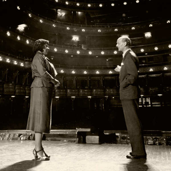 Rudolf Bing of the Metropolitan Opera (right) stands with Marian Anderson on Oct. 7, 1954. Bing invited Anderson to perform the role of Ulrica in Giuseppe Verdi's A Masked Ball in January 1955. Anderson was the first African-American to sing a role in a Met production.