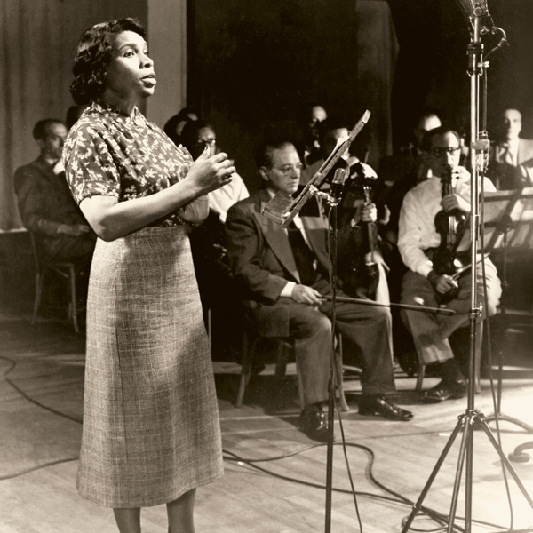 """Marian Anderson in April 1951. In the 1950s, Marian Anderson began """"vertical"""" segregation with her audiences, where the hall was split into side-by-side racial sections rather than seating Black people in the back. She also worked with the NAACP who was discouraging Black artists from performing for segregated audiences."""