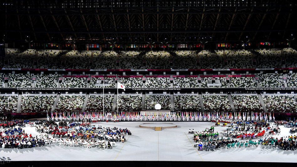 The stands were largely empty at the Opening Ceremony of the Tokyo 2020 Paralympic Games at the Olympic Stadium on Tuesday.