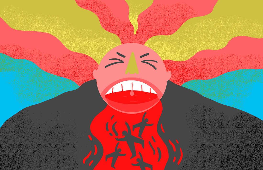 Giant man yelling, spewing fire, anger, panic, terror.