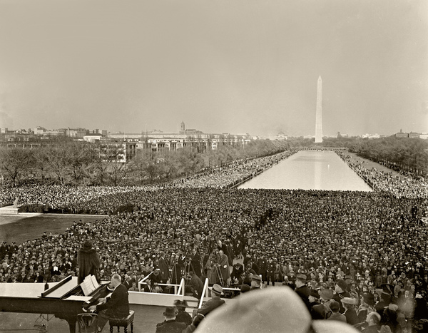 Marian Anderson performed on Easter Sunday, April 9, 1939 at the Lincoln Memorial after being refused the largest hall in Washington because she was Black. At least 75,000 people gathered to listen to the historic moment.