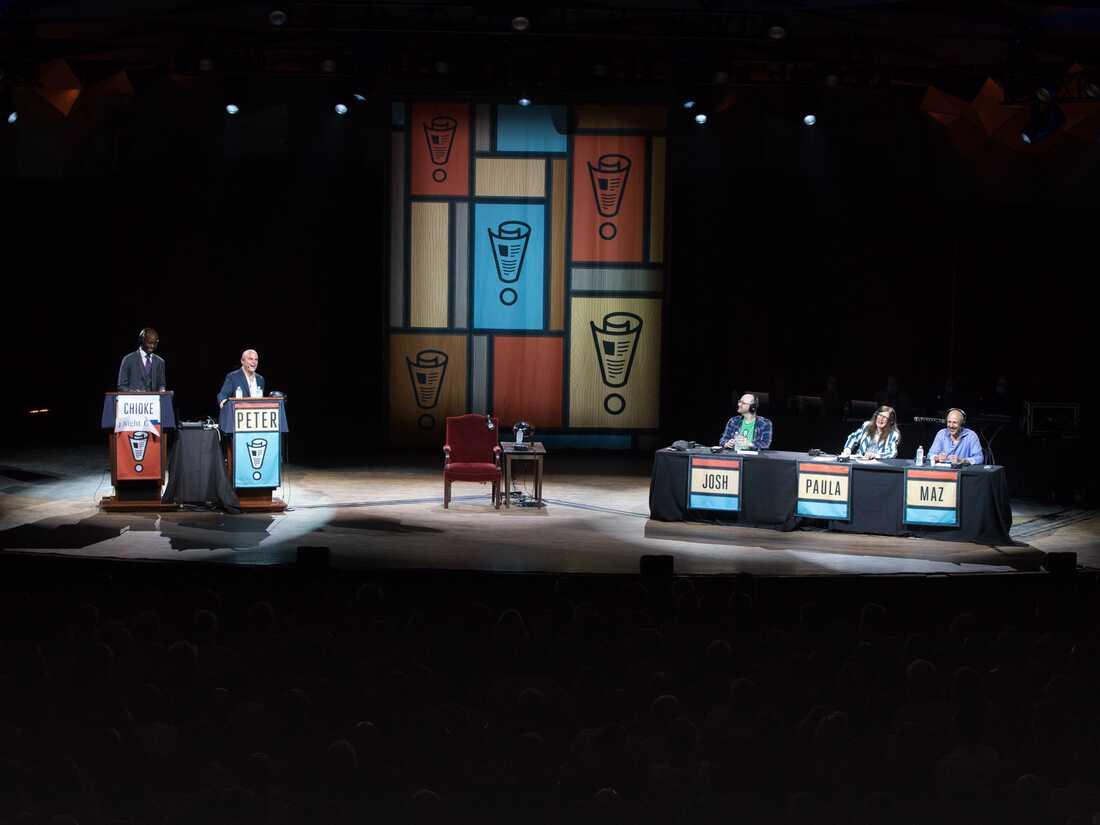 Chioke I'Anson, Peter Sagal, Josh Gondelman, Paula Poundstone, and Maz Jobrani onstage at Tanglewood in Lenox, Ma.
