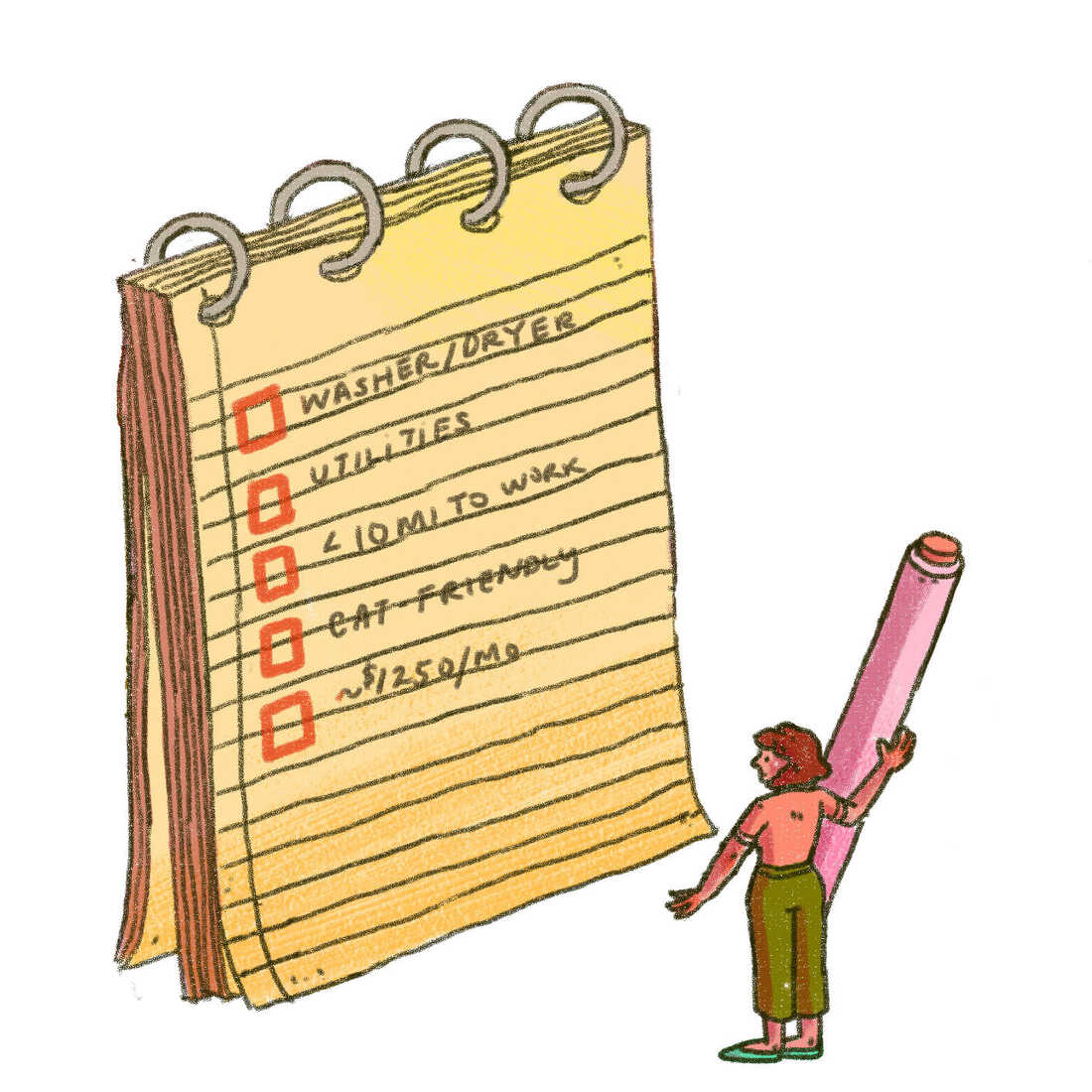 Illustration of a large checklist with items to consider before renting. Is the place cat-friendly? Does it fit your budget? A small person with a large pen stands before the checklist looking up at it.