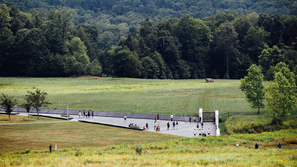 Visitors walk through the Flight 93 National Memorial in southwestern Pennsylvania. The memorial is dedicated to the people who died on United Airlines Flight 93 on Sept. 11, 2001.