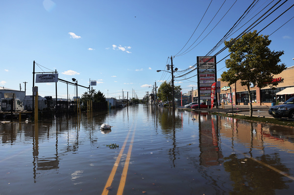 A street in Newark, N.J., is flooded on Thursday in Newark, N.J. Gov. Phil Murphy declared a state of emergency after Tropical Storm Ida caused flooding and power outages throughout the state.