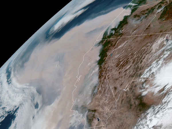 Brown smoke from wildfires blows westward in the atmosphere from California and Oregon on Wednesday Sept 9 2020 Smoke from Western fires has triggered air quality alerts 3000 miles away