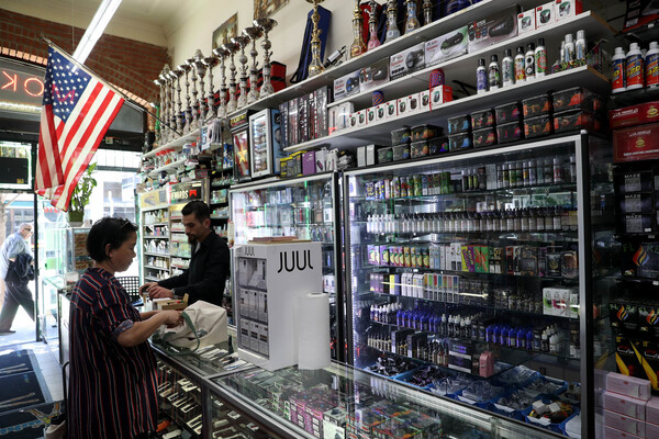 E-Cigarette vaporizer components and products are displayed at Smoke and Gift Shop on June 25, 2019 in San Francisco, California.