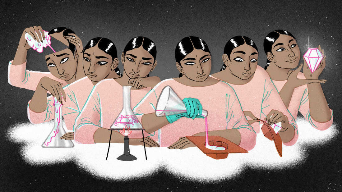"""An illustration showing a sequence of a woman taking out her brain and examining it. She carries out a series of processes on it with test tubes, and eventually it transforms into a diamond, illustrating the concept that she harnessed the power of her anxiety, like the saying """"pressure makes diamonds."""""""