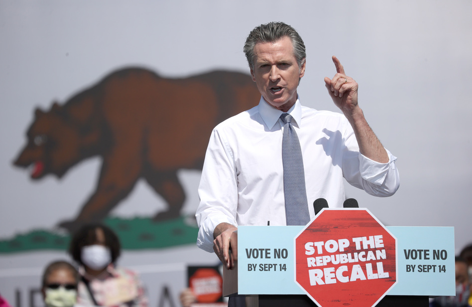California Gov. Gavin Newsom speaks during a No on the Recall campaign event with Vice President Harris on Wednesday in San Leandro, Calif. President Biden is set to campaign with Newsom on Monday. (Justin Sullivan/Getty Images)
