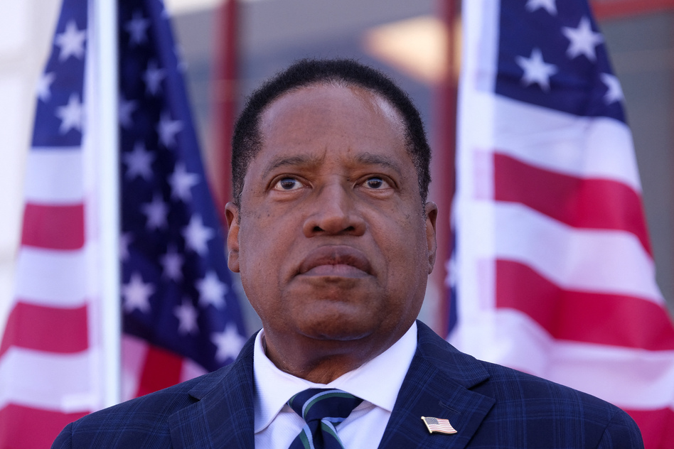 Republican Larry Elder speaks to supporters during an Asian Rally for Yes Recall at the Asian Garden Mall in Little Saigon, Westminster, California, on September 4, 2021. (Ringo Chiu/AFP via Getty Images)