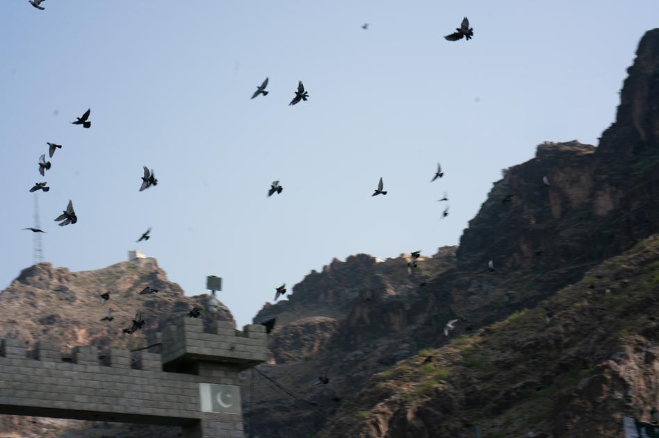 Birds fly above Torkham.