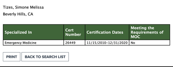 Simone Gold's board certification in emergency medicine (listed under her maiden name of Tizes) expired in December of last year, but she still has a license to practice medicine.