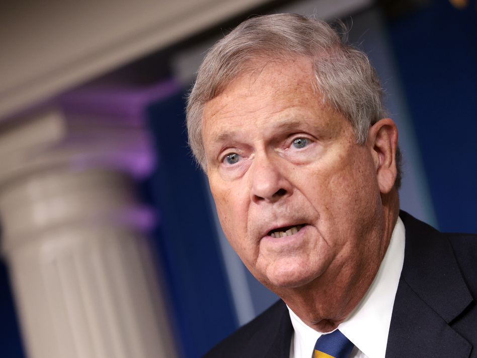 Agriculture Secretary Tom Vilsack speaks on rising food prices at a press briefing at the White House on Sept. 8. The Biden administration is taking steps to try to bring more suppliers to the meatpacking industry.