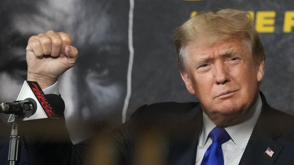 Former President Donald Trump, seen here Saturday, has made unfounded claims about fraud affecting the California gubernatorial recall election. (Rebecca Blackwell/AP)