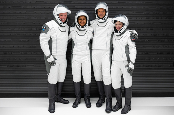 In a first, the SpaceX mission set to launch Wednesday night will carry four civilians: Chris Sembroski (from left), Sian Proctor, Jared Isaacman and Hayley Arceneaux.