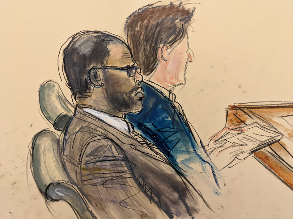 In this courtroom artist's sketch made from a video screen monitor, R. Kelly (left) and lawyer Thomas Farinella listen during the opening day of his trial on Aug. 18, 2021 in Brooklyn, New York. (Elizabeth Williams/AP)