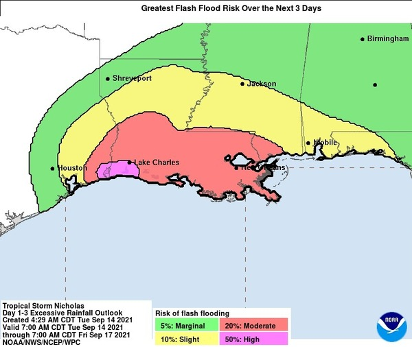 More than half of Louisiana is facing a moderate or greater risk of flash flooding due to Tropical Storm Nicholas, the National Weather Service says.