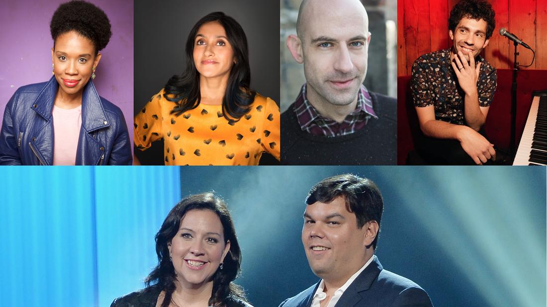 Joyelle Nicole Johnson, Aparna Nancherla, Cecil Baldwin, Julian Velard, Kristen Anderson Lopez and Robert Lopez.