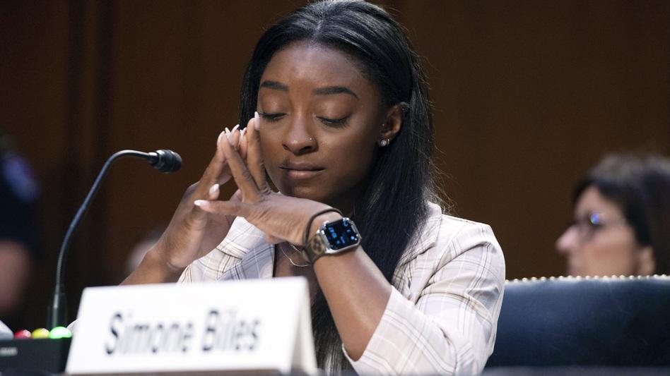 Biles testifies Wednesday during the Senate hearing.