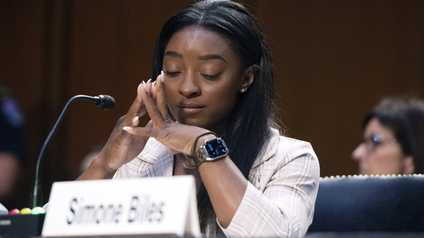 """Biles testifies Wednesday during the Senate hearing. """"The impact of this man's abuse will never be over,"""" the Olympic gymnast said."""