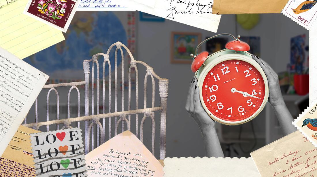 A collage of a clock and a crib surrounded by stamps and stationary elements.