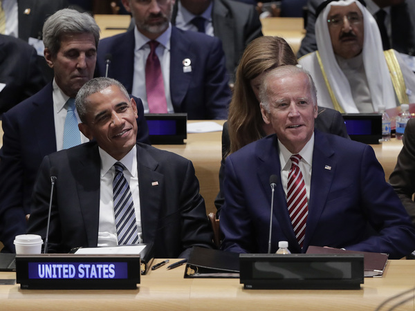 Biden, then vice president, sits with President Barack Obama at a summit on refugees during the U.N. General Assembly in 2016.