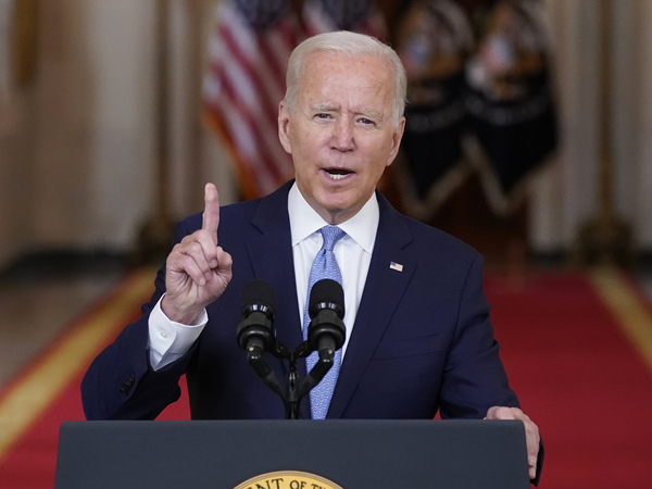 President Biden, in an address about the end of the war in Afghanistan on Aug. 31, said it was no longer in the U.S. national interest to be there.