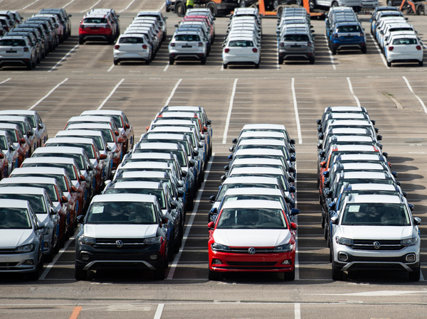 About 5,000 unfinished cars remain parked on May 14 outside the Volkswagen Navarra factory in Pamplona, Spain, due to lack of semiconductor supply. Manufacturers all over the world have been struggling to meet surging demand.