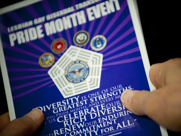 """A pamphlet from a Pride Month event at the Pentagon in 2015. Monday marked the 10th anniversary of the repeal of the """"don't ask, don't tell"""" policy in the U.S. military."""