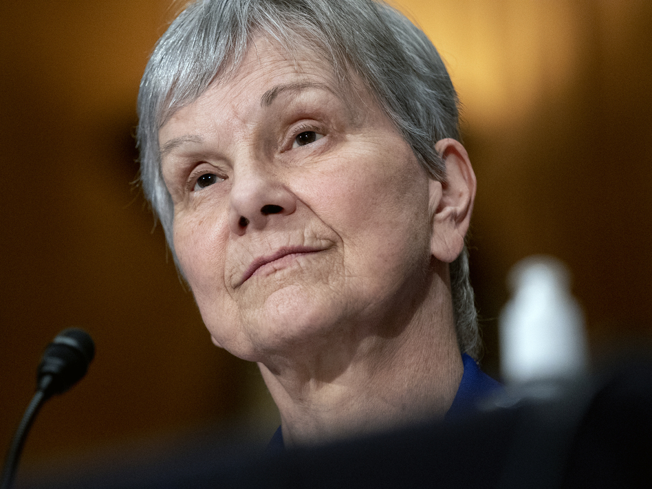 Dr. Janet Woodcock, acting commissioner of the Food and Drug Administration, appears before a Senate committee in July. Many public health leaders say letting the agency go so long without a permanent director has demoralized staff and sends the wrong message about the agency's importance. (Stefani Reynolds/Pool/The New York Times via AP)