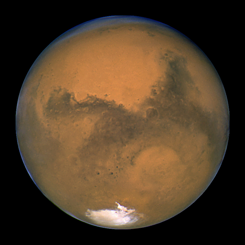A close-up of Mars taken by NASA's Hubble Space Telescope. New research suggests that the red planet may be too small to have ever had large amounts of surface water. (NASA/WireImage)