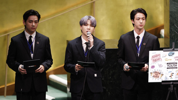BTS sang (on a video viewed by more than 1 million). And they spoke. Left to right: Taehyung/V, Suga and Jin of the South Korean boy band at the launch of the U.N. General Assembly