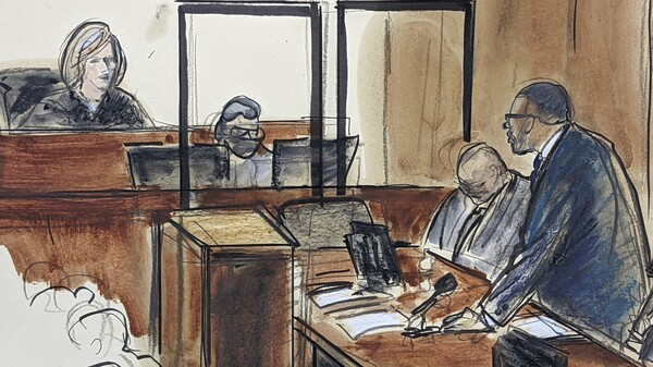 A courtroom sketch of R. Kelly telling Judge Ann M. Donnelly he won't take the stand in his own defense.