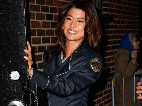 Actor Grace Park wears her Battlestar Galactica uniform in New York City. The costume is drawing comparisons to the U.S. Space Force's new uniforms.