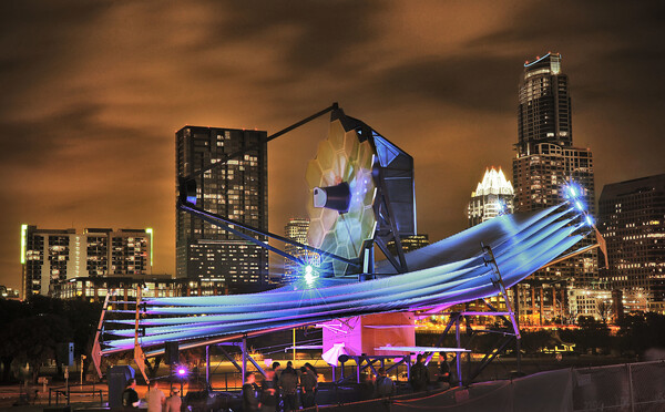 A full-scale model of the unusual telescope, shown here at South by Southwest in Austin, has been exhibited around the world to show the public how it will look out in space.