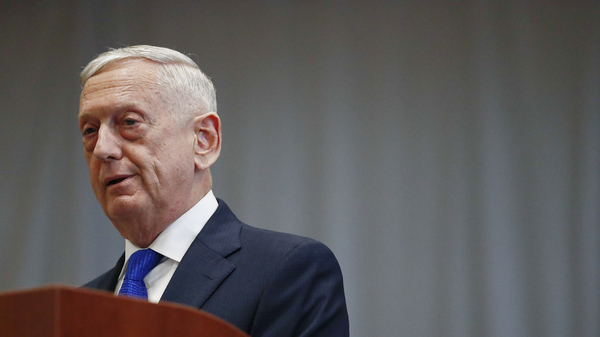 U.S. Secretary of Defense James Mattis speaks during a change of command ceremony at the U.S. Southern Command headquarters on in 2018 in Doral, Fla. Former U.S. Secretary of Defense Mattis testified Wednesday in the trial of fallen tech star Elizabeth Holmes.