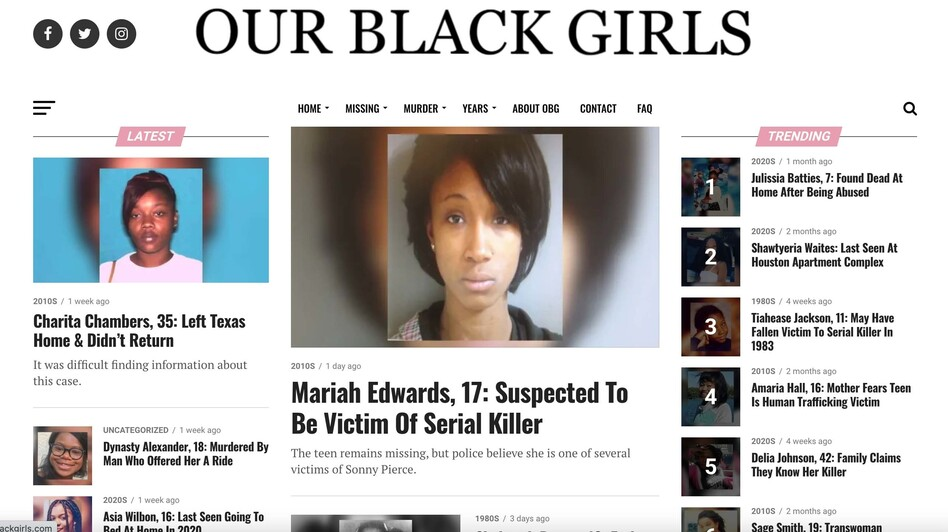 Created in 2018, the Our Black Girls website centers the stories of missing Black girls and women. (ourblackgirls.com/Screenshot by NPR)