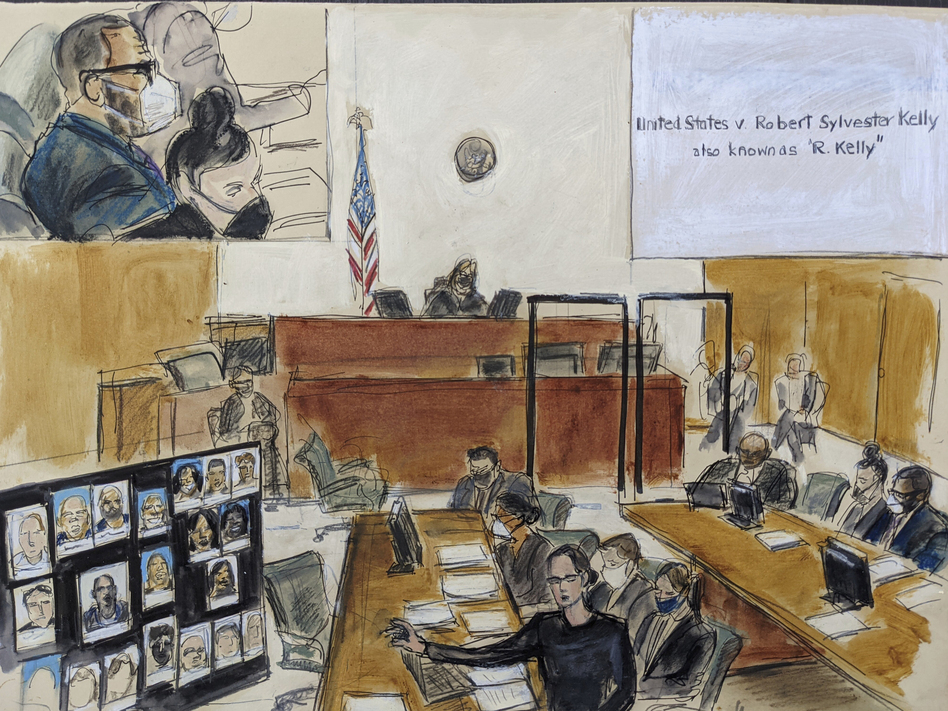 In this illustration drawn from a video feed, the prosecution presents its closing argument in the federal trial against singer R. Kelly on Sept. 22 in New York. (Elizabeth Williams/AP)