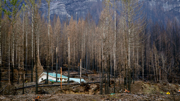 Mary Bradshaw's fire-hardened home in Elkhorn, Oregon, on Feb. 26, 2021. It was one of few that survived the Beachie Creek fire in the area