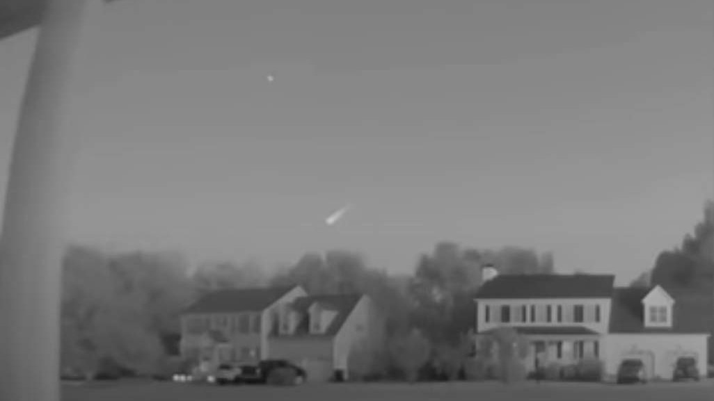 A screengrab from viewer Brandon Warren's video of a fireball meteor taken on Friday, Sept. 24, at 7:40 p.m. in Willow Spring, N.C.