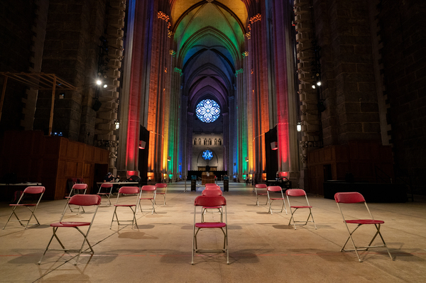 The waiting area of a pop-up vaccination site at St. John The Divine Cathedral sits empty as the rush for vaccinations winds down on June 27, 2021 in New York City. The demand for vaccinations has declined just as the Delta Plus variant of the coronavirus begins to take hold in the United States.