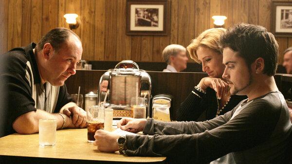 James Gandolfini, Edie Falco, Robert Iler listening to Journey in the series finale of The Sopranos.