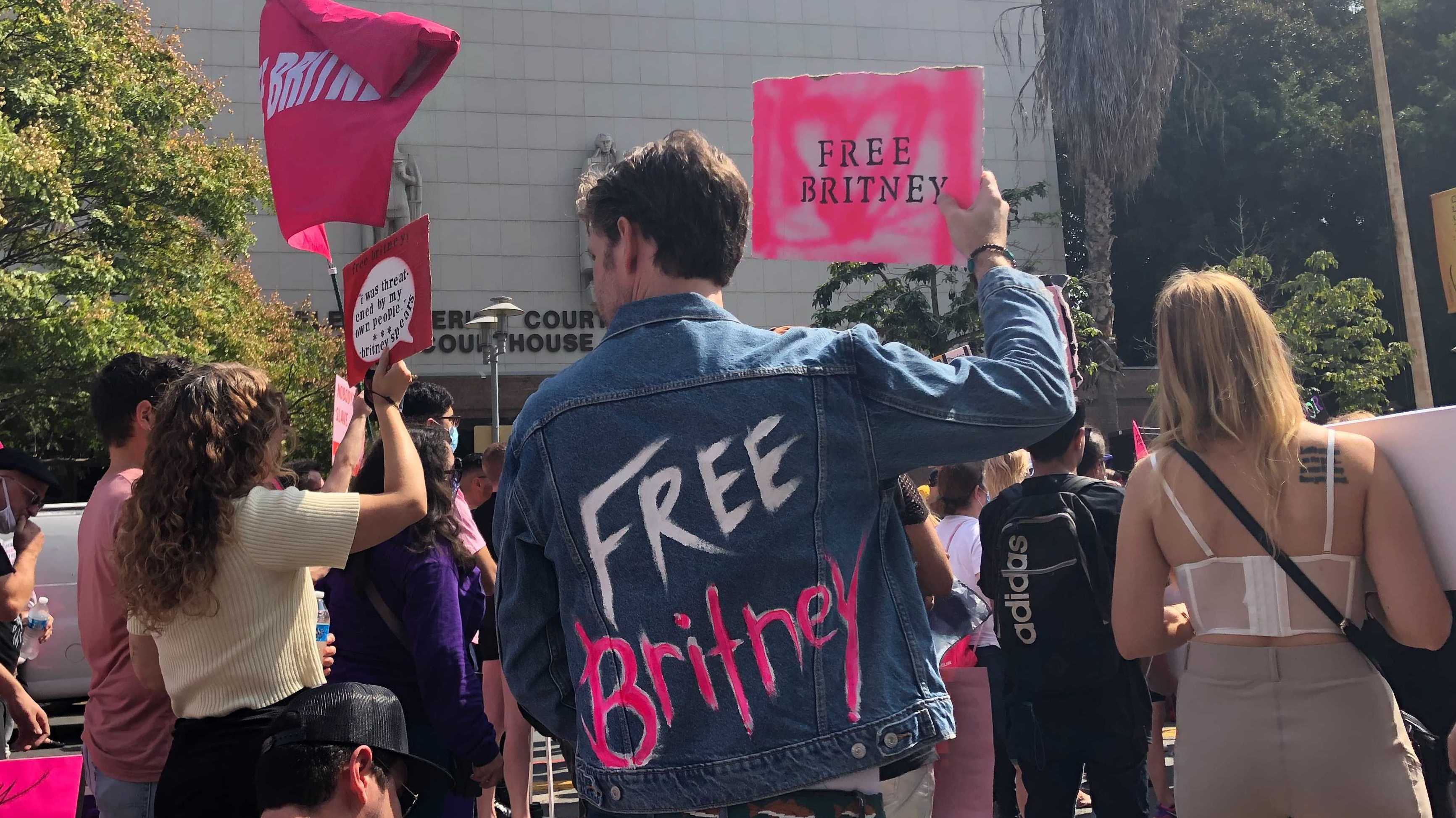 Britney Spears supporter Peter Stickles was among those demonstrating outside Los Angeles Superior Court on Wednesday.