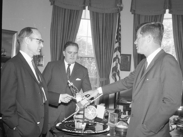 NASA's new telescope bears the name of James Webb (center), an influential figure who was appointed by President John F. Kennedy to lead the space agency during the '60s. But some astronomers say discrimination against gay and lesbian government employees during his tenure should preclude him from having a telescope named in his honor.