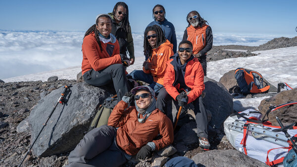 Members of the Full Circle Everest team pose for a photo on Mount Rainier earlier this year. Next year, group members hope to become the first all-Black team to reach the top of Mount Everest.