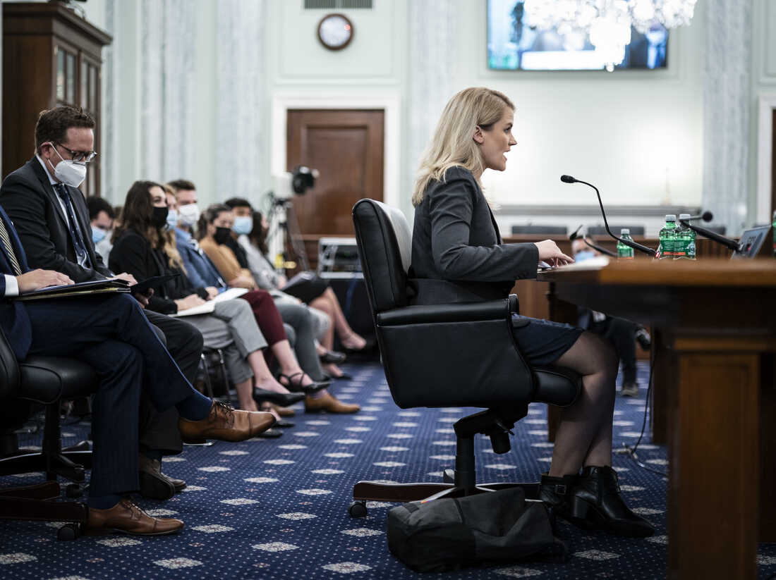 Frances Haugen, Facebook whistle-blower, speaks during a Senate Commerce, Science and Transportation Subcommittee hearing in Washington, D.C., U.S., on Tuesday, Oct. 5, 2021. Photographer: Jabin Botsford/The Washington Post/Bloomberg via Getty Images