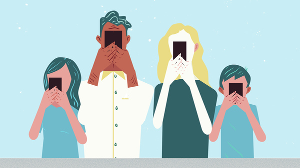 Illustration of young people holding their cell phones up to their face