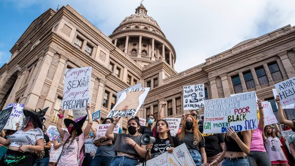 Protesters take part in the Women's March and Rally for Abortion Justice at the State Capitol in Austin, Texas, on Saturday.